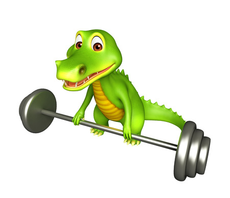 3d Rendered alligator cartoon character with gim equipment Stock Photo
