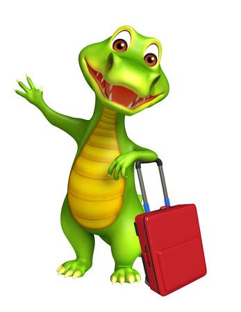 alligator cartoon: 3d Rendered alligator cartoon character with travel bag Stock Photo