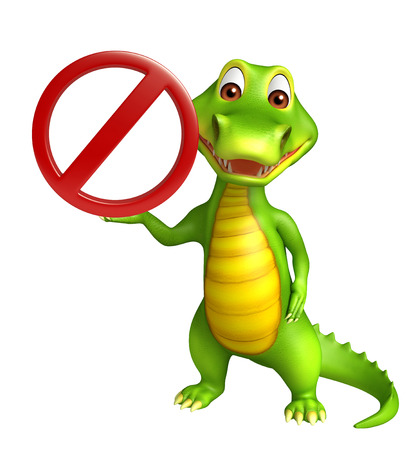 zoo traffic: 3d Rendered alligator cartoon character with stop sign Stock Photo
