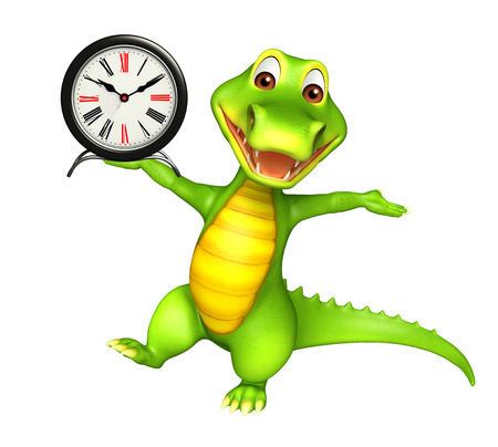 wake up happy: 3d Rendered alligator cartoon character with clock