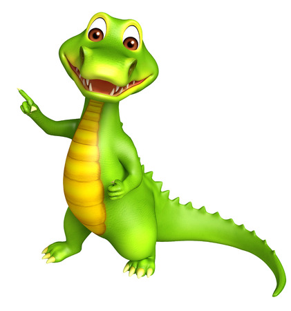 3d Rendered alligator cartoon character pointing towards blanck space