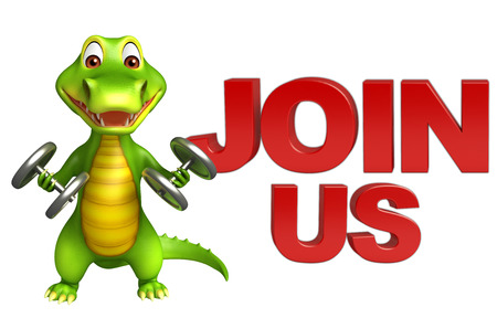 3d Rendered alligator cartoon character with gim equipment and join us sign