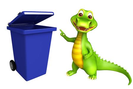 cartoon crocodile: 3d Rendered alligator cartoon character with dustbin