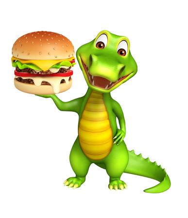 cartoon crocodile: 3d Rendered alligator cartoon character with burger