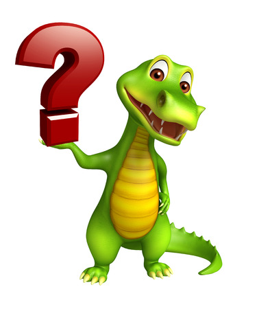 enigma: 3d Rendered alligator cartoon character with question mark sign
