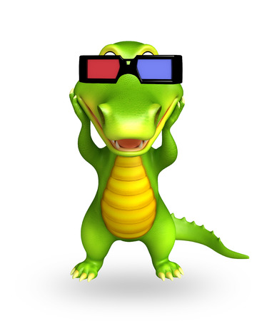 jaws: 3d Rendered alligator cartoon character with 3d glasses