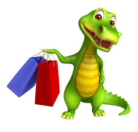 alligator cartoon: 3d Rendered alligator cartoon character with shopping bag