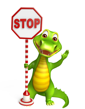 zoo traffic: 3d Rendered alligator cartoon character with stop board