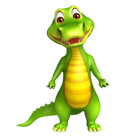 zoo amphibian: 3d Rendered funny alligator cartoon character
