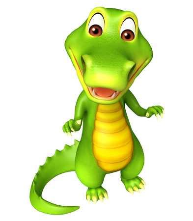 jaws: 3d Rendered alligator cartoon character Stock Photo