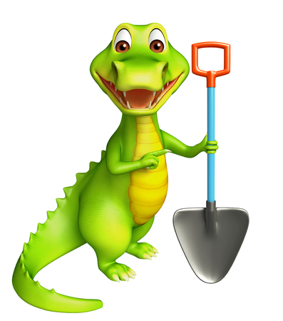 digging: 3d Rendered alligator cartoon character with digging showel Stock Photo