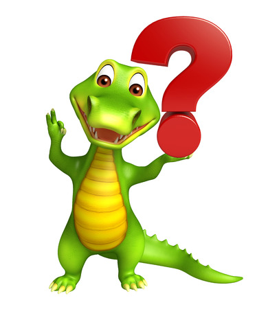 alligator cartoon: 3d Rendered alligator cartoon character with question mark sign
