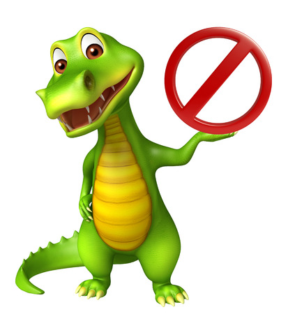 drive ticket: 3d Rendered alligator cartoon character with stop sign Stock Photo