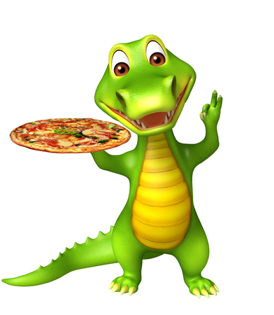 3d pizza: 3d Rendered alligator cartoon character with pizza