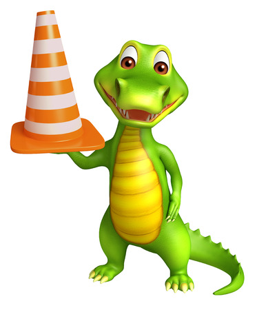 zoo traffic: 3d Rendered alligator cartoon character with construction cone