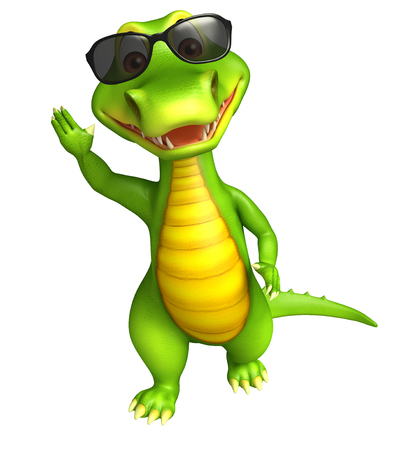 cartoon crocodile: 3d Rendered alligator cartoon character with sunglass