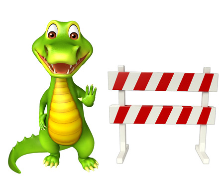 constuction: 3d Rendered alligator cartoon character with baracade Stock Photo