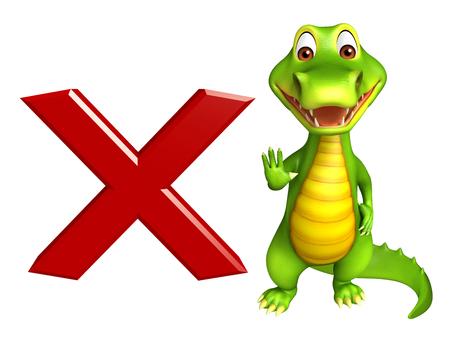 cross mark: 3d Rendered alligator cartoon character with cross mark