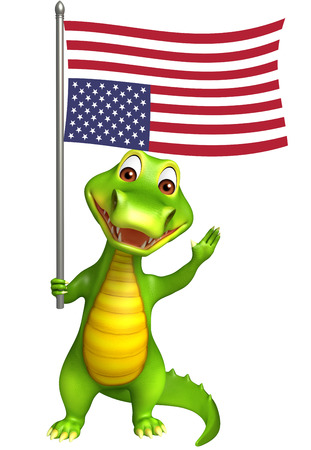 zoo amphibian: 3d Rendered alligator cartoon character with flag