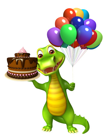 alligator cartoon: 3d Rendered alligator cartoon character with cake and balloon Stock Photo