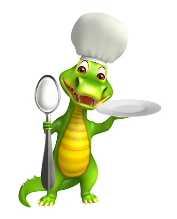 dinner plate: 3d Rendered alligator cartoon character with dinner plate and spoons