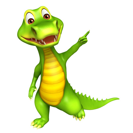 blanck: 3d Rendered alligator cartoon character pointing towards blanck space