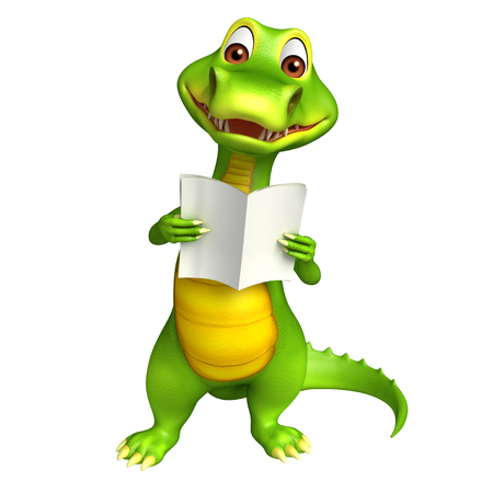 news paper: 3d Rendered alligator cartoon character with reading news paper