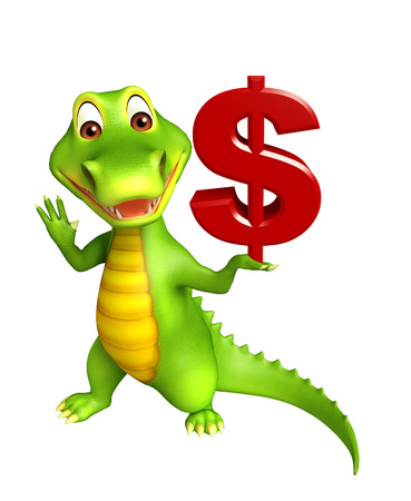 3d Rendered alligator cartoon character with doller sign