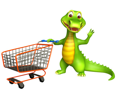 trolly: 3d Rendered alligator cartoon character with trolly