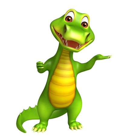 jaws: 3d Rendered funny alligator cartoon character