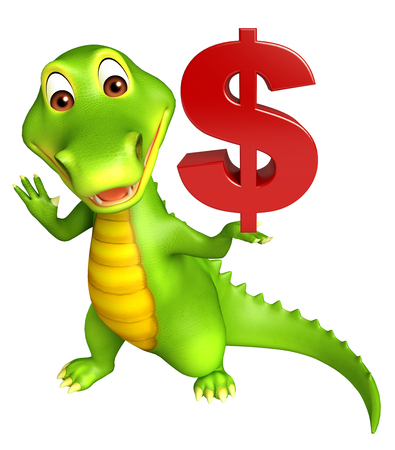 buck teeth: 3d Rendered alligator cartoon character with doller sign