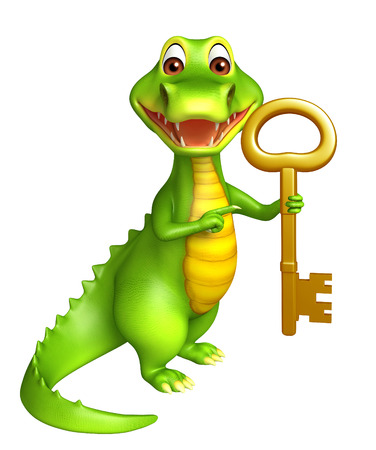 jaws: 3d Rendered alligator cartoon character with key