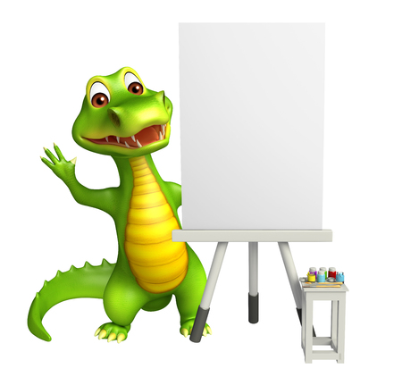 aligator: 3d rendered illustration of Aligator cartoon character with white board