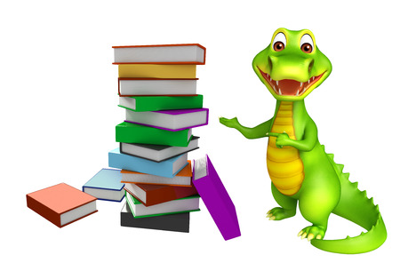 alligator cartoon: 3d Rendered alligator cartoon character with book stack Stock Photo