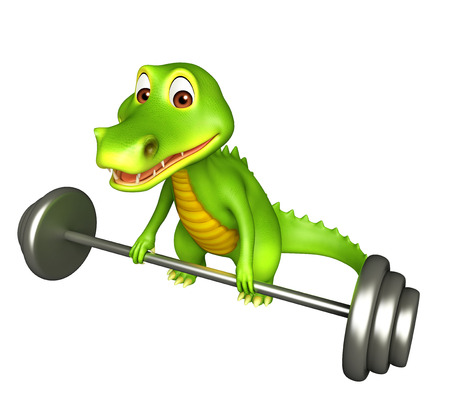 3d Rendered alligator cartoon character with gim equipments