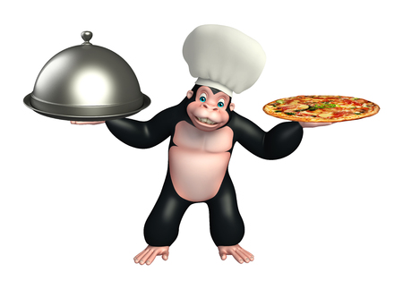 chef 3d: 3d rendered illustration of Gorilla cartoon character with chef hat, spoon and cloche