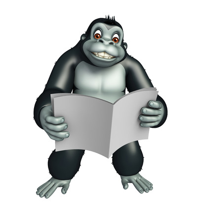 broadsheet: 3d rendered illustration of Gorilla cartoon character with news paper