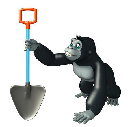 digging: 3d rendered illustration of Gorilla cartoon character with digging shovel