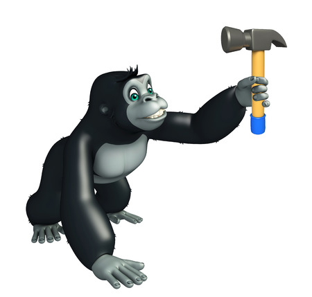 iron fun: 3d rendered illustration of Gorilla cartoon character with hammer Stock Photo
