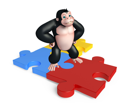 jig saw: 3d rendered illustration of Gorilla cartoon character with puzzel sign