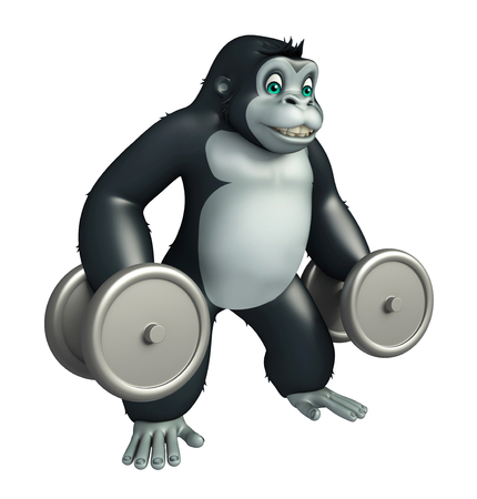 iron fun: 3d rendered illustration of Gorilla cartoon character with Gim equipment