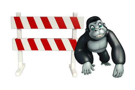 security lights: 3d rendered illustration of Gorilla cartoon character with baracade Stock Photo