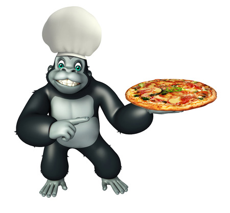3d rendered illustration of Gorilla cartoon character with pizza