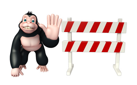constuction: 3d rendered illustration of Gorilla cartoon character with baracade Stock Photo