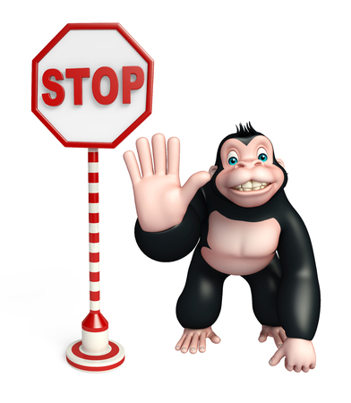 zoo traffic: 3d rendered illustration of Gorilla cartoon character with stop board Stock Photo