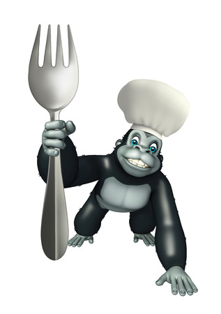 3d chef: 3d rendered illustration of Gorilla cartoon character with chef hat and spoons