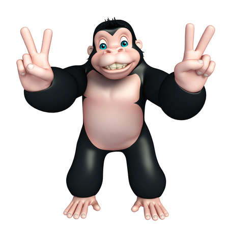 assigning: 3d rendered illustration of Gorilla cartoon character with assigning victory Stock Photo