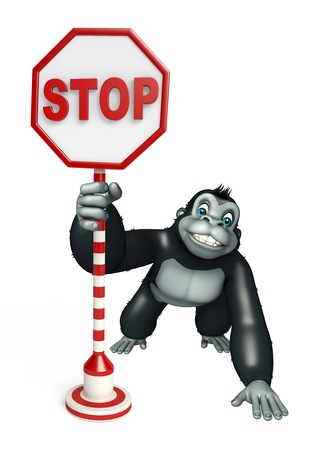 traffic ticket: 3d rendered illustration of Gorilla cartoon character with stop board Stock Photo