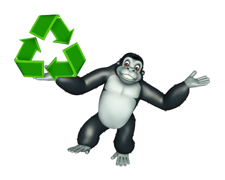 primate biology: 3d rendered illustration of Gorilla cartoon character with recycle sign Stock Photo