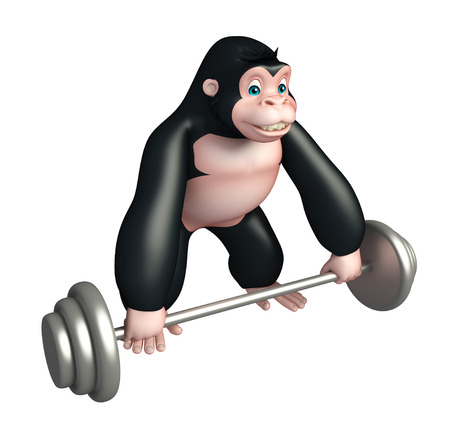 iron fun: 3d rendered illustration of Gorilla cartoon character with Gim equipment